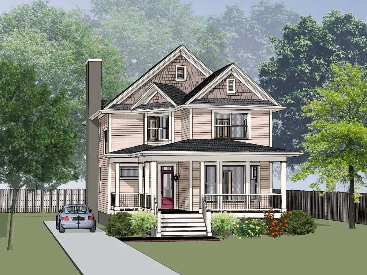 Colonial, Cottage, Country, Narrow Lot House Plan 75592 with 3 Beds , 3 Baths Elevation
