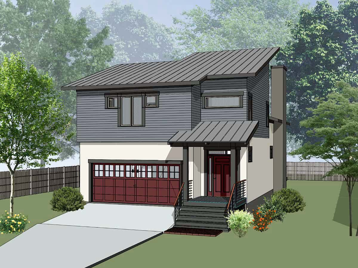 Contemporary, Modern, Narrow Lot House Plan 75594 with 3 Beds , 3 Baths , 2 Car Garage Elevation