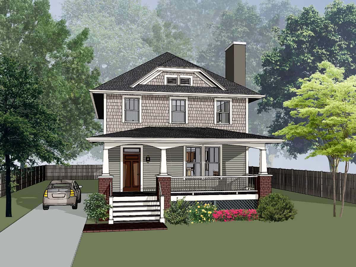 Bungalow, Craftsman, Narrow Lot House Plan 75595 with 3 Beds , 3 Baths Elevation