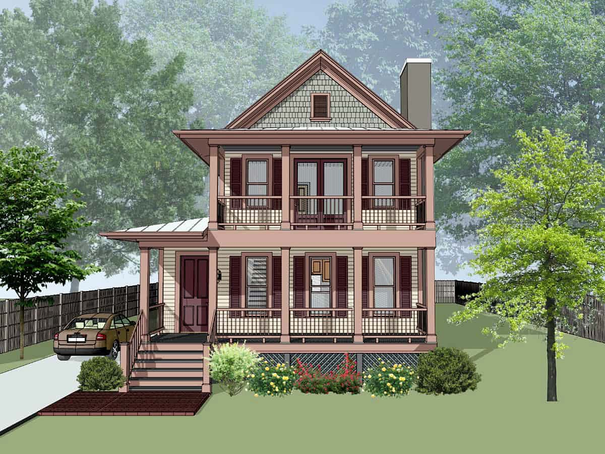 Narrow Lot, Southern House Plan 75596 with 4 Beds, 4 Baths Elevation