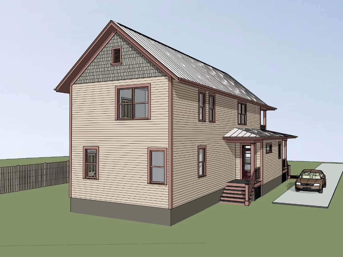 Narrow Lot, Southern House Plan 75596 with 4 Beds, 4 Baths Picture 2