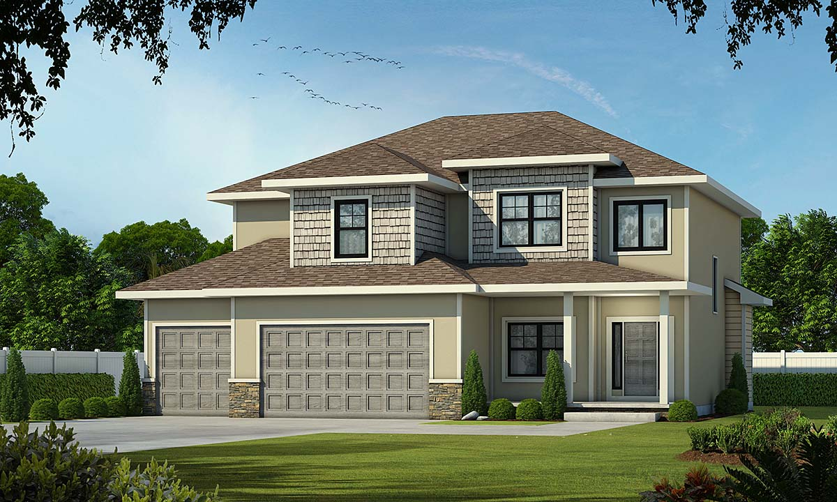 Bungalow, Craftsman, Traditional House Plan 75708 with 4 Beds, 4 Baths, 3 Car Garage Elevation