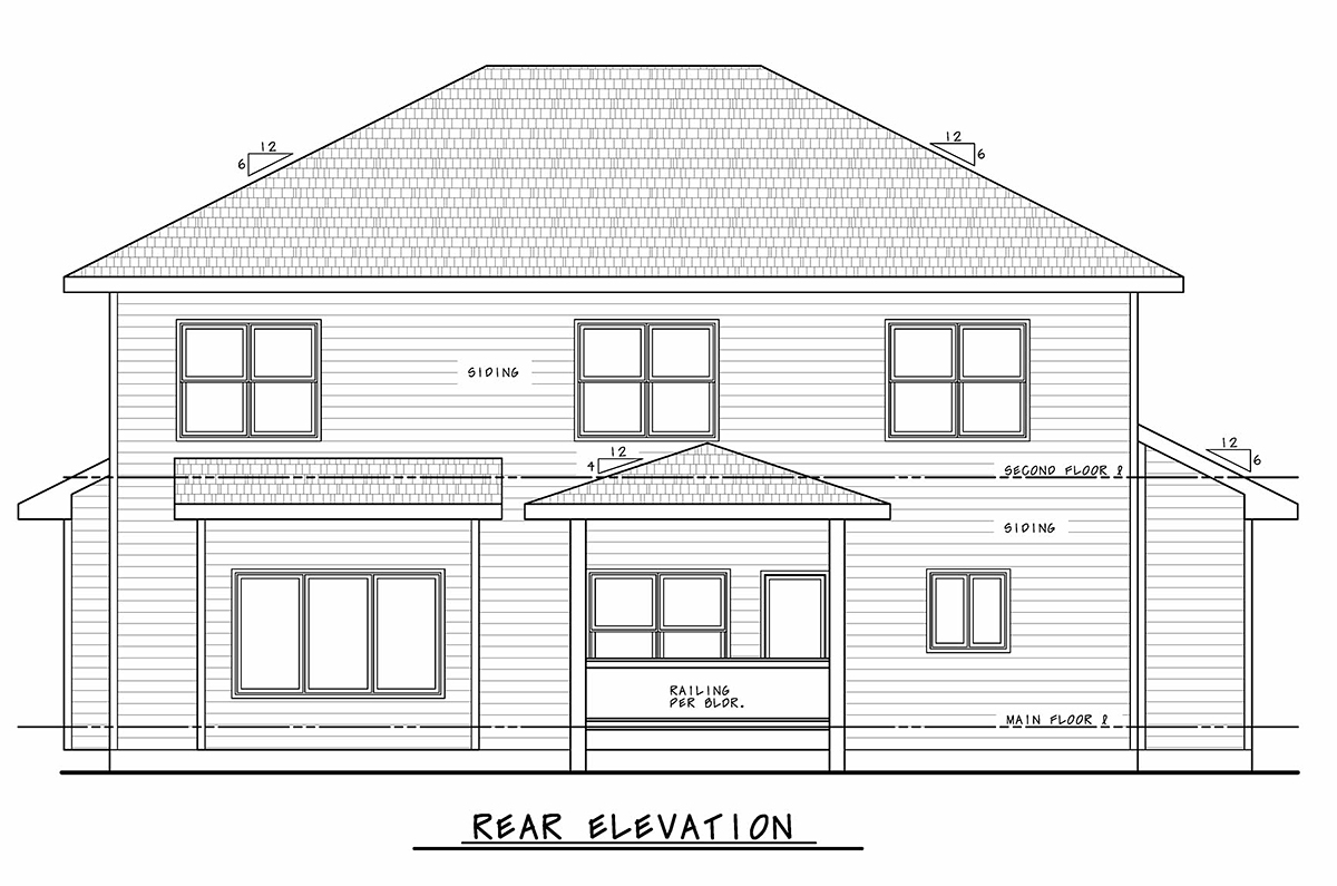 Bungalow, Craftsman, Traditional House Plan 75708 with 4 Beds, 4 Baths, 3 Car Garage Rear Elevation