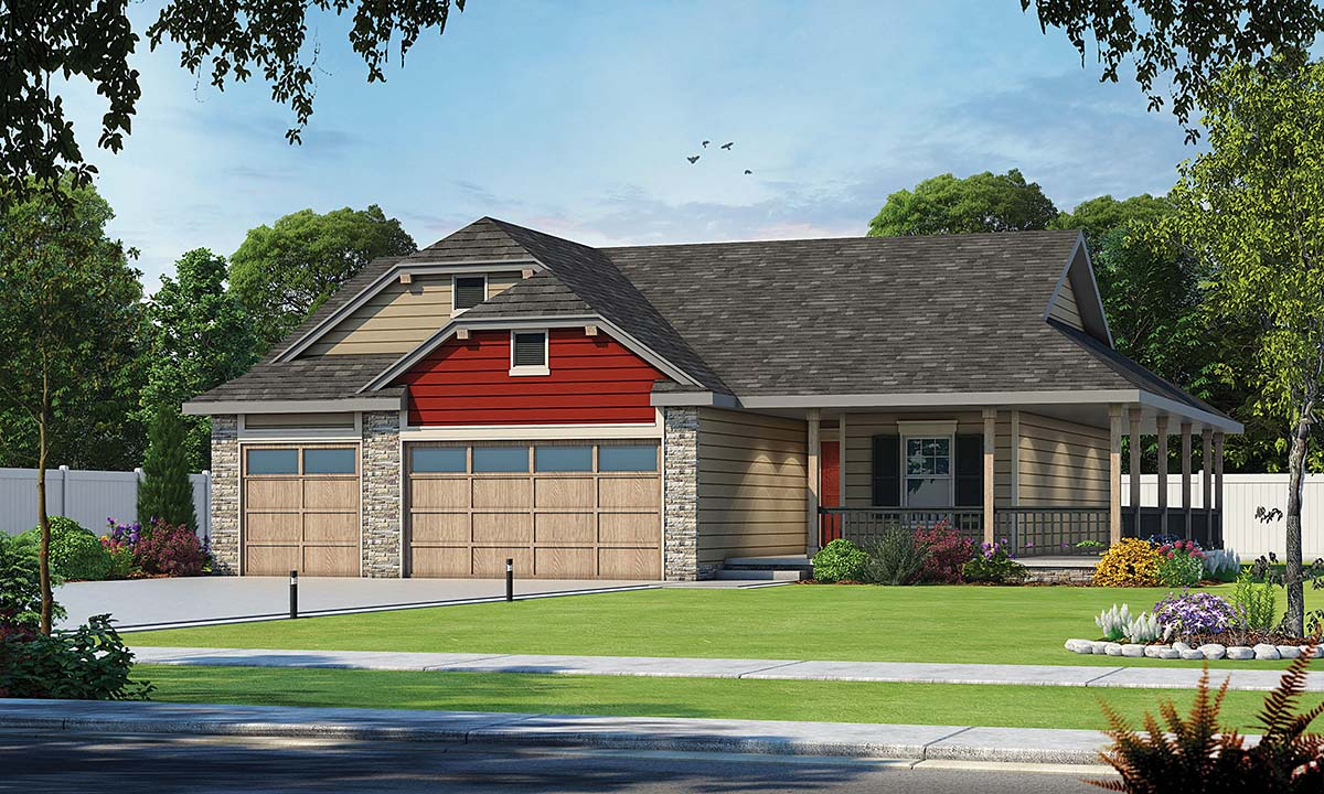 Country, Farmhouse, One-Story House Plan 75714 with 3 Beds, 2 Baths, 3 Car Garage Elevation
