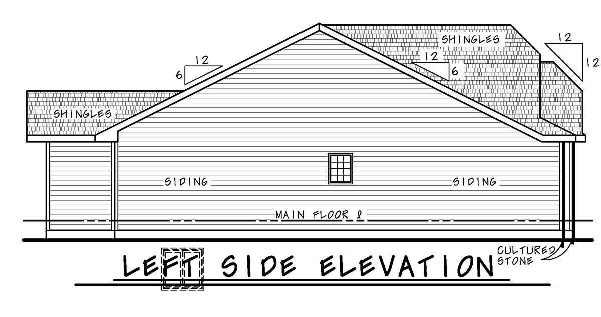 Country, Farmhouse, One-Story House Plan 75714 with 3 Beds, 2 Baths, 3 Car Garage Picture 2