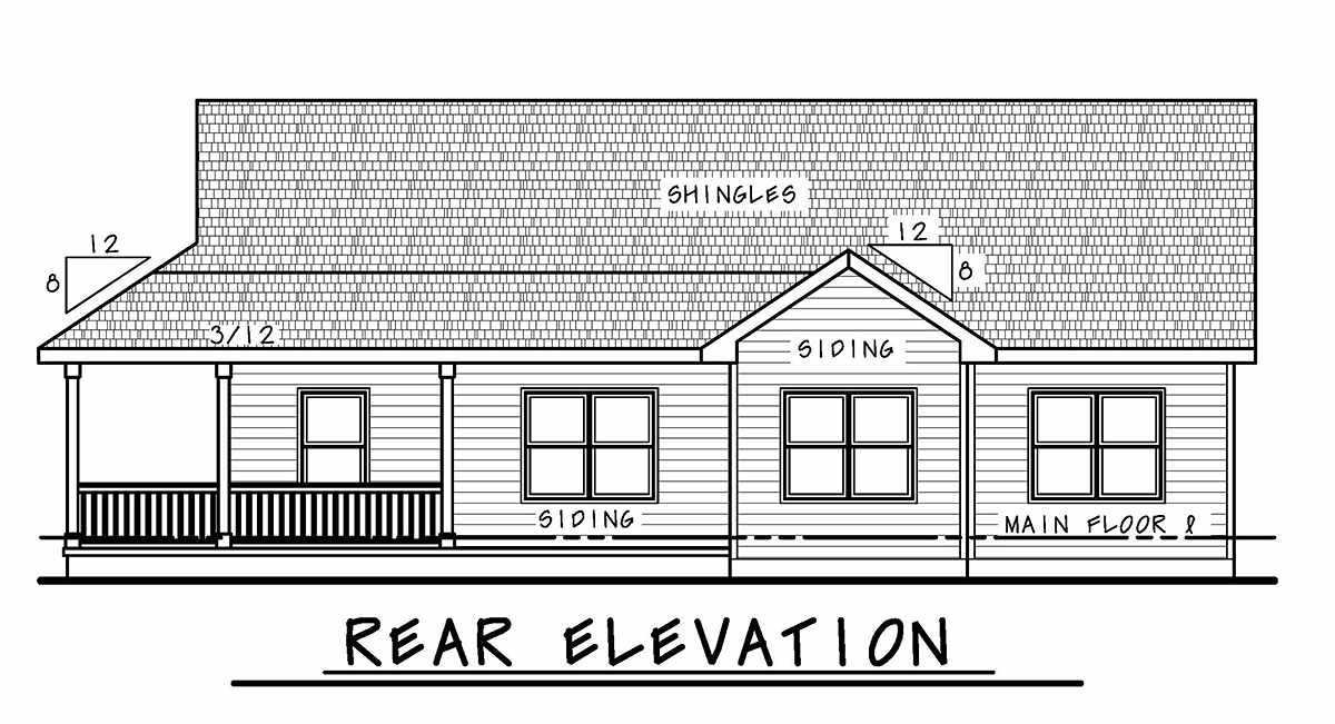 Country, Farmhouse, One-Story House Plan 75714 with 3 Beds, 2 Baths, 3 Car Garage Rear Elevation