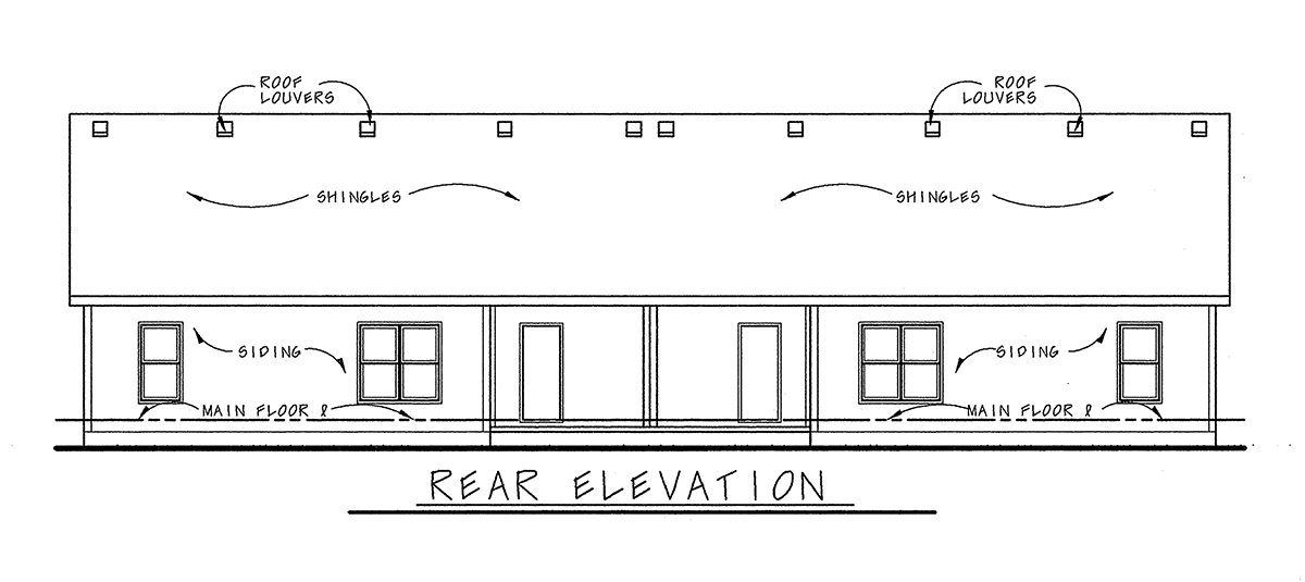 Craftsman Multi-Family Plan 75717 with 6 Beds, 4 Baths, 4 Car Garage Rear Elevation