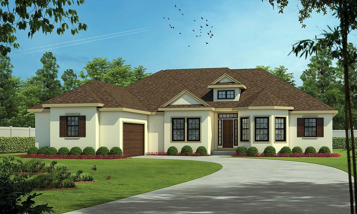 Mediterranean House Plan 75721 with 4 Beds, 5 Baths, 2 Car Garage Elevation