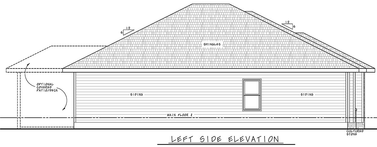 Traditional House Plan 75722 with 3 Beds, 2 Baths, 2 Car Garage Picture 2
