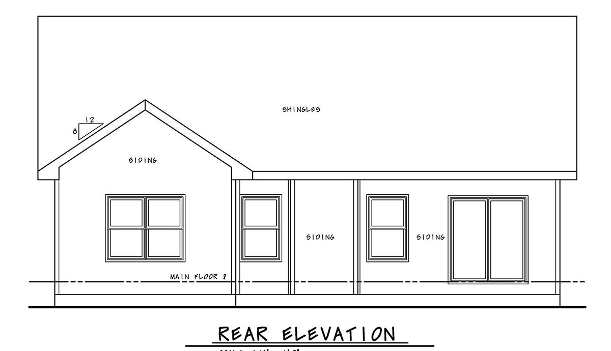 Craftsman, Farmhouse House Plan 75723 with 2 Beds, 2 Baths, 2 Car Garage Rear Elevation