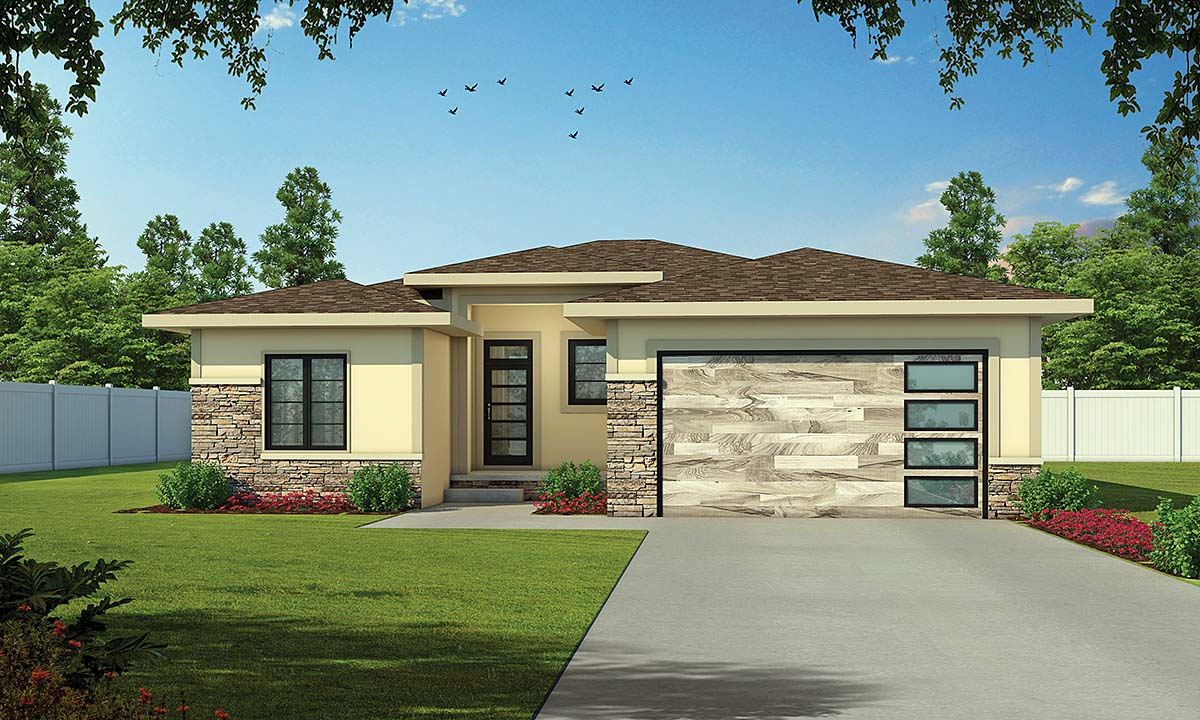 Contemporary House Plan 75725 with 3 Beds, 3 Baths, 2 Car Garage Elevation