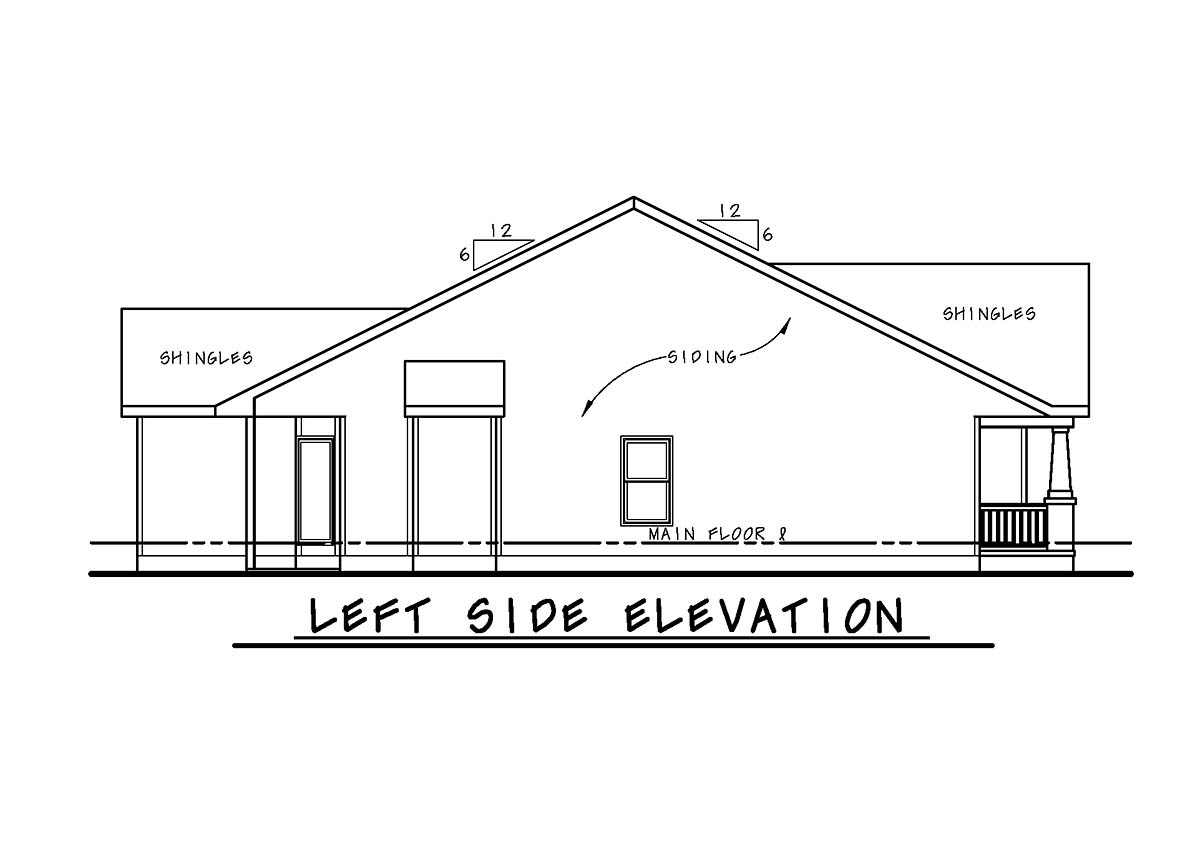 Cottage, Craftsman House Plan 75727 with 3 Beds, 2 Baths, 2 Car Garage Picture 2