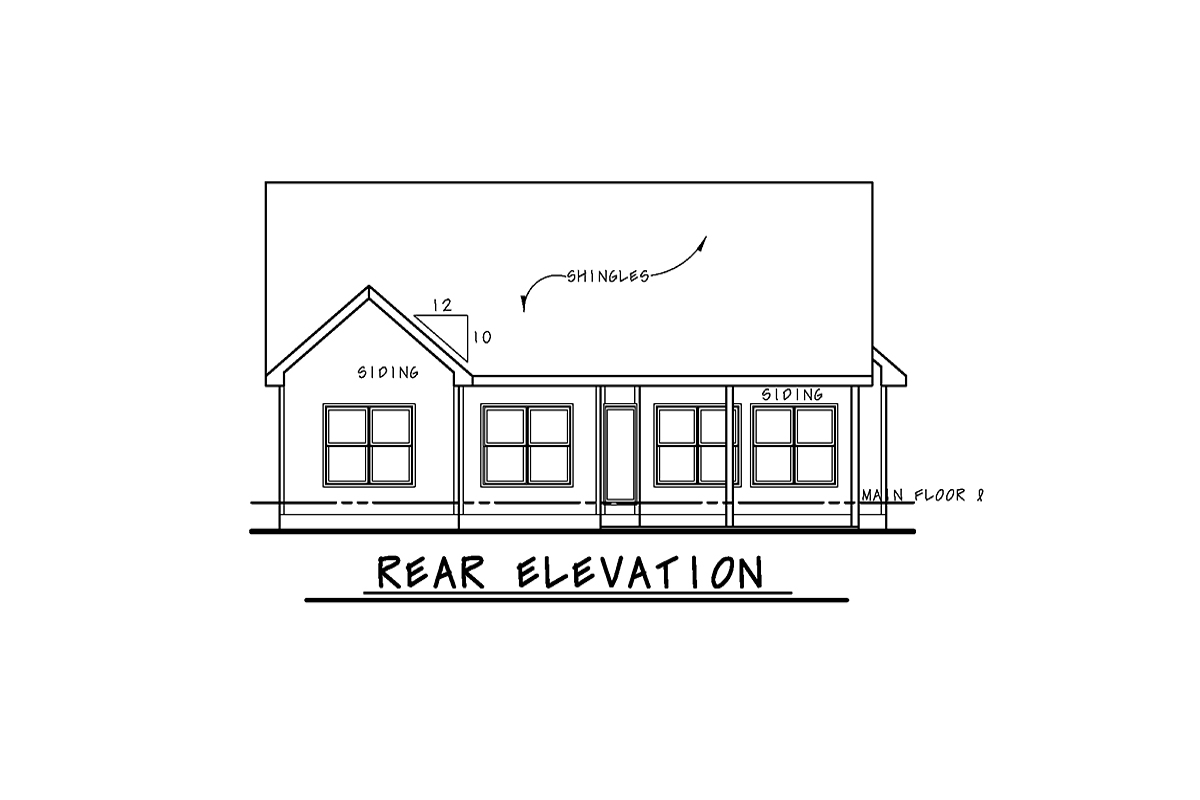 Cottage, Craftsman House Plan 75727 with 3 Beds, 2 Baths, 2 Car Garage Rear Elevation