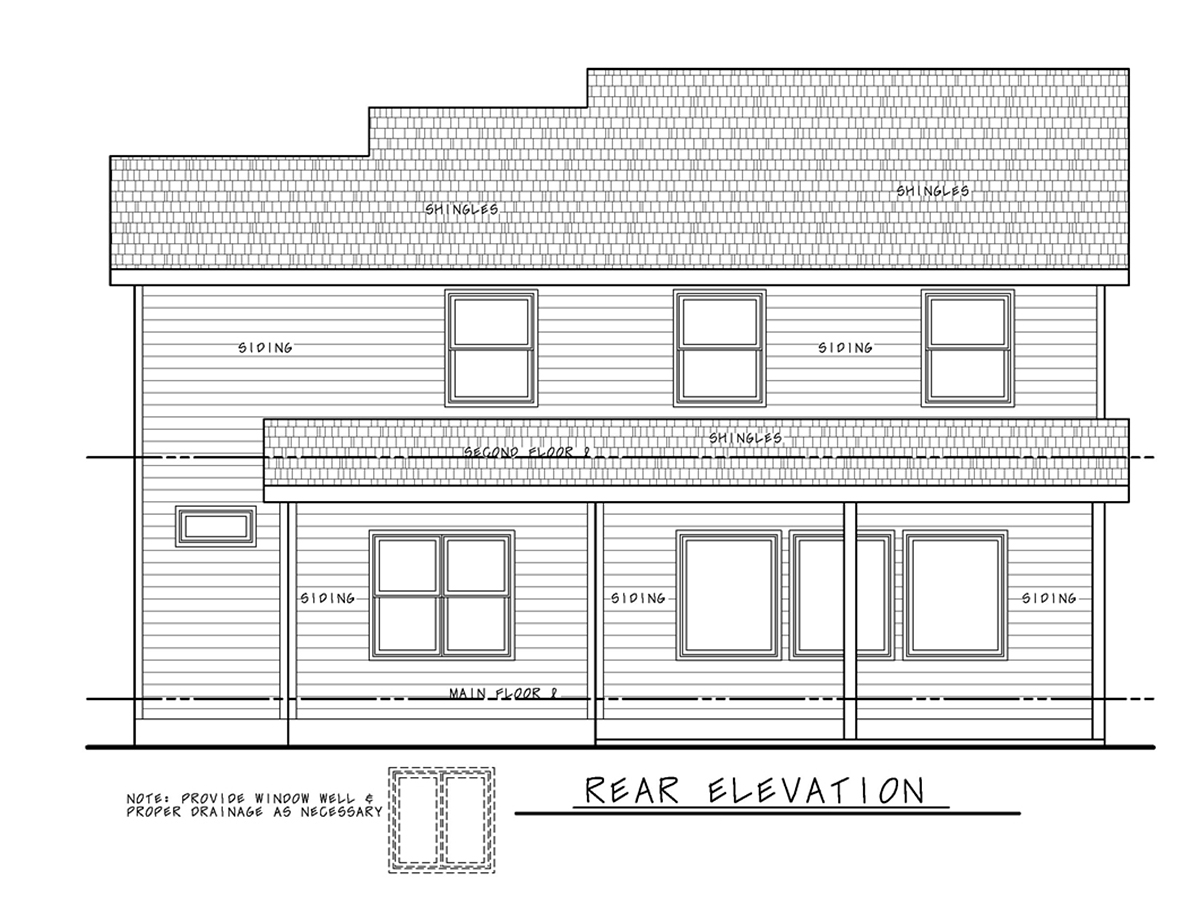 Farmhouse House Plan 75734 with 3 Beds, 3 Baths, 2 Car Garage Rear Elevation