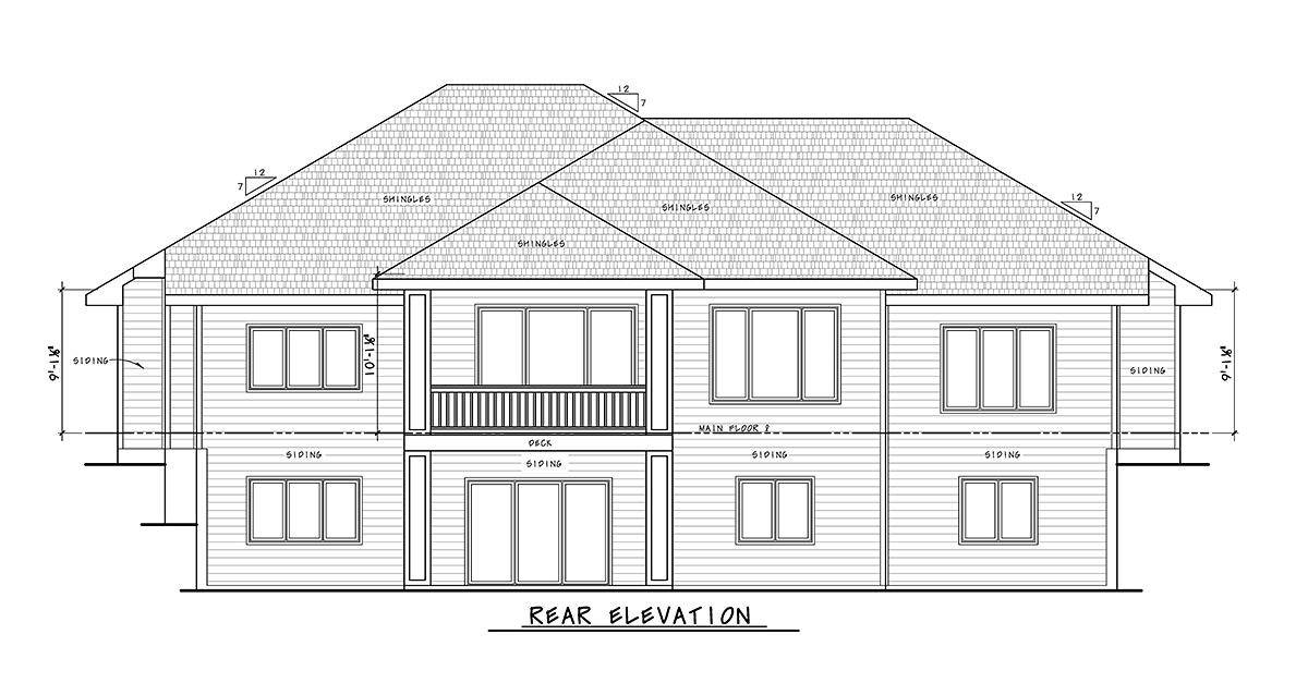 Craftsman House Plan 75740 with 4 Beds, 4 Baths, 3 Car Garage Rear Elevation