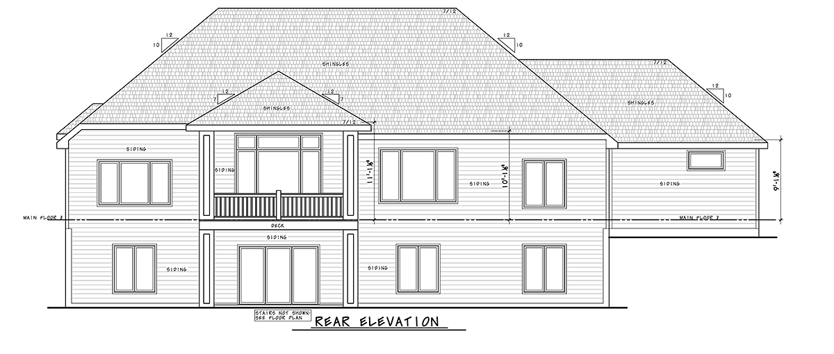 Craftsman, Traditional House Plan 75741 with 4 Beds, 4 Baths, 4 Car Garage Rear Elevation