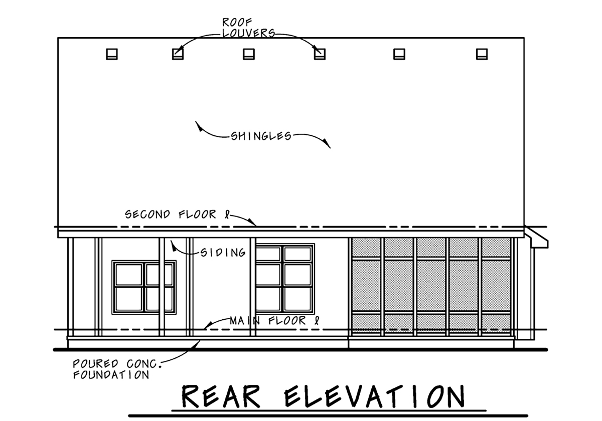 Bungalow, Cottage, Country, Craftsman House Plan 75742 with 3 Beds, 3 Baths, 2 Car Garage Rear Elevation