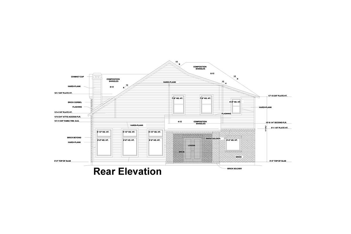 European House Plan 75744 with 4 Beds, 4 Baths, 2 Car Garage Rear Elevation