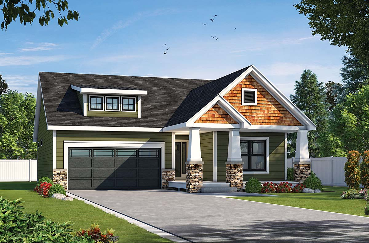 Craftsman House Plan 75750 with 2 Beds, 2 Baths, 2 Car Garage Elevation
