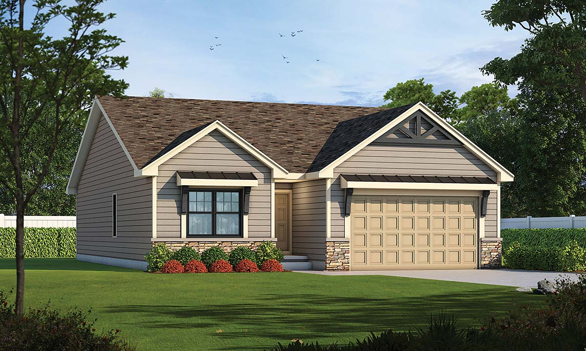 Craftsman House Plan 75751 with 2 Beds, 2 Baths, 2 Car Garage Elevation