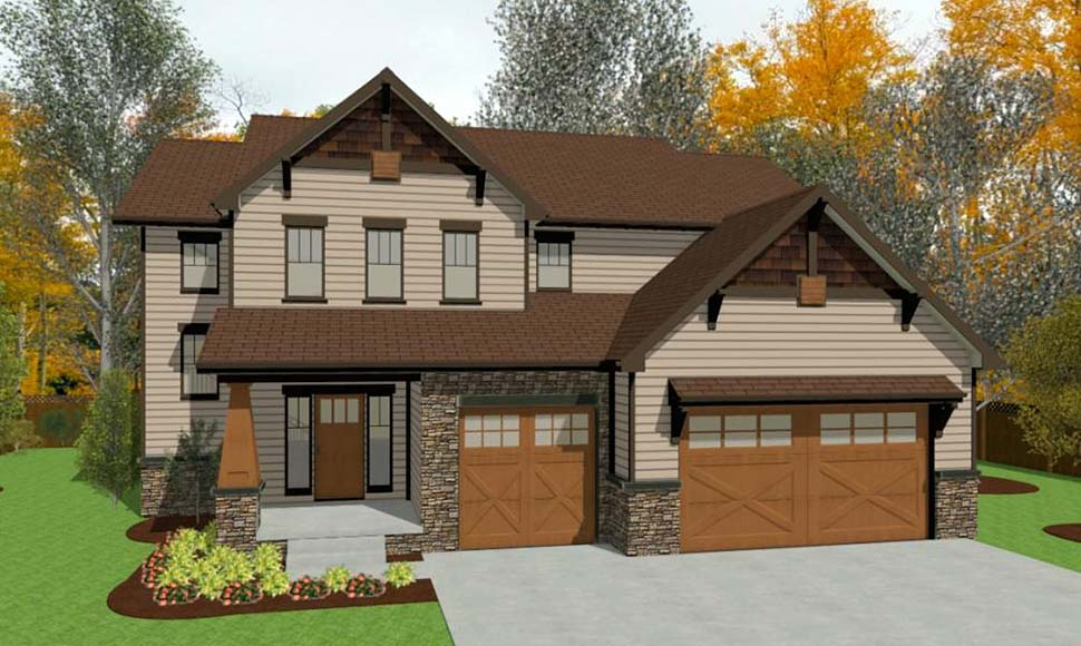 Craftsman, Traditional House Plan 75759 with 4 Beds, 3 Baths, 3 Car Garage Picture 3