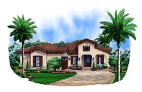 House Plan 75908 | Mediterranean Style Plan with 2583 Sq Ft, 3 Bedrooms, 3 Bathrooms, 2 Car Garage Elevation