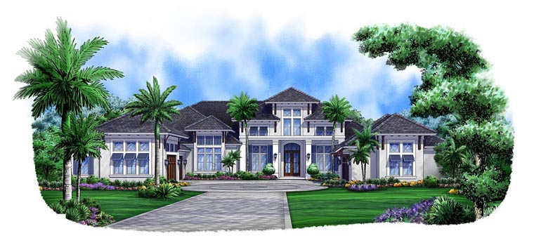 Florida, Mediterranean House Plan 75924 with 4 Beds, 6 Baths, 5 Car Garage Elevation