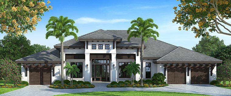 Florida, Mediterranean House Plan 75930 with 4 Beds, 5 Baths, 3 Car Garage Front Elevation