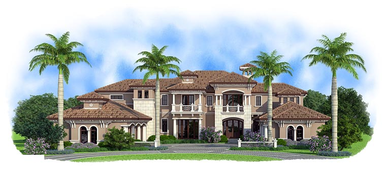 Florida, Mediterranean House Plan 75933 with 5 Beds, 9 Baths, 5 Car Garage