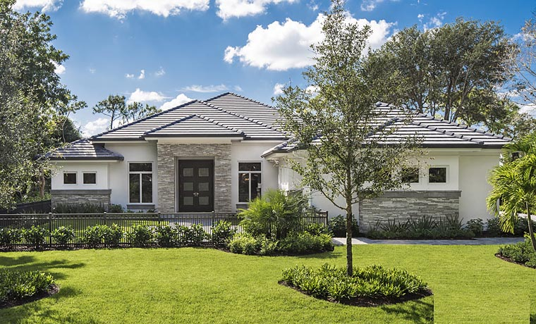 House Plan 75934 | Contemporary Florida Style Plan with 3211 Sq Ft, 3 Bedrooms, 4 Bathrooms, 2 Car Garage Elevation