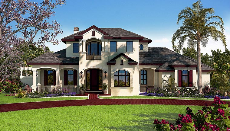 Florida, Mediterranean House Plan 75938 with 5 Beds, 6 Baths, 3 Car Garage