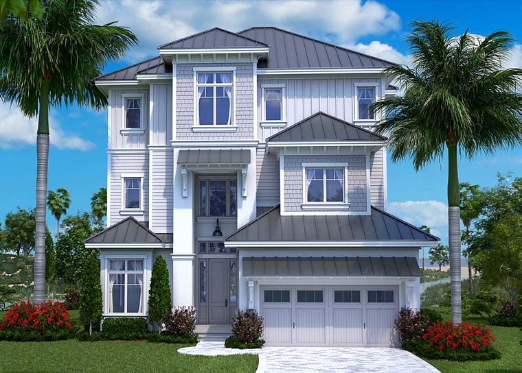 Coastal Contemporary Craftsman House Plan 75951 Elevation