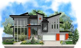 Contemporary , Modern House Plan 75953, 3 Car Garage Elevation