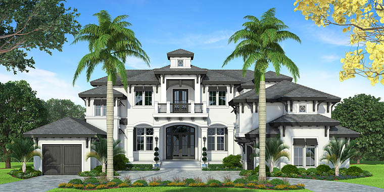 Florida, Mediterranean House Plan 75954 with 4 Beds, 6 Baths, 3 Car Garage