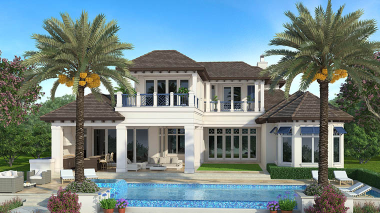 Florida Mediterranean House Plan 75956 Rear Elevation