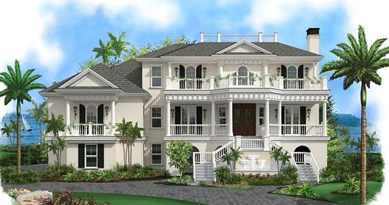 Southern , Plantation , Colonial , Coastal House Plan 75957 with 4 Beds, 5 Baths, 3 Car Garage Elevation