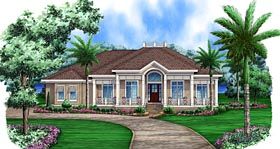 House Plan 75961 | Contemporary Florida French Country Style Plan with 3563 Sq Ft, 4 Bedrooms, 5 Bathrooms, 3 Car Garage Elevation