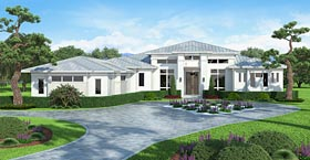 House Plan 75967 | Coastal, Contemporary, Florida, Mediterranean Style House Plan with 4918 Sq Ft, 5 Bed, 6 Bath, 3 Car Garage Elevation