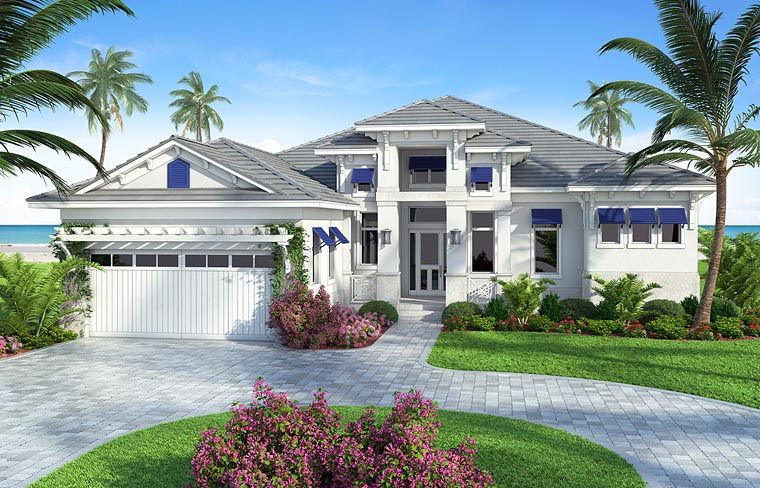 Coastal Florida Mediterranean Southern House Plan 75969 Elevation