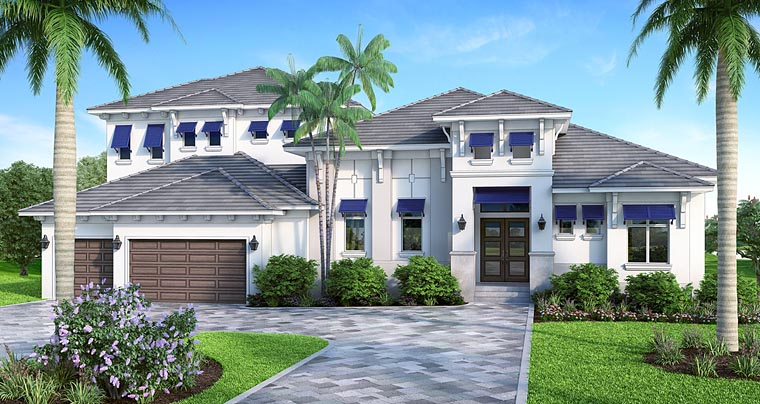 House Plan 75971 | Coastal Florida Mediterranean Style Plan with 3903 Sq Ft, 4 Bed, 5 Bath, 3 Car Garage Elevation