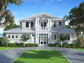Coastal Craftsman Florida Mediterranean Southern House Plan 75972 Elevation