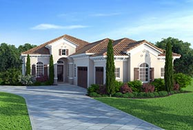 House Plan 75974 | Florida Mediterranean Southern Style Plan with 2658 Sq Ft, 3 Bedrooms, 4 Bathrooms, 3 Car Garage Elevation