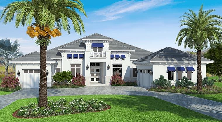 Coastal, Florida, Mediterranean House Plan 75976 with 4 Beds, 5 Baths, 3 Car Garage Elevation