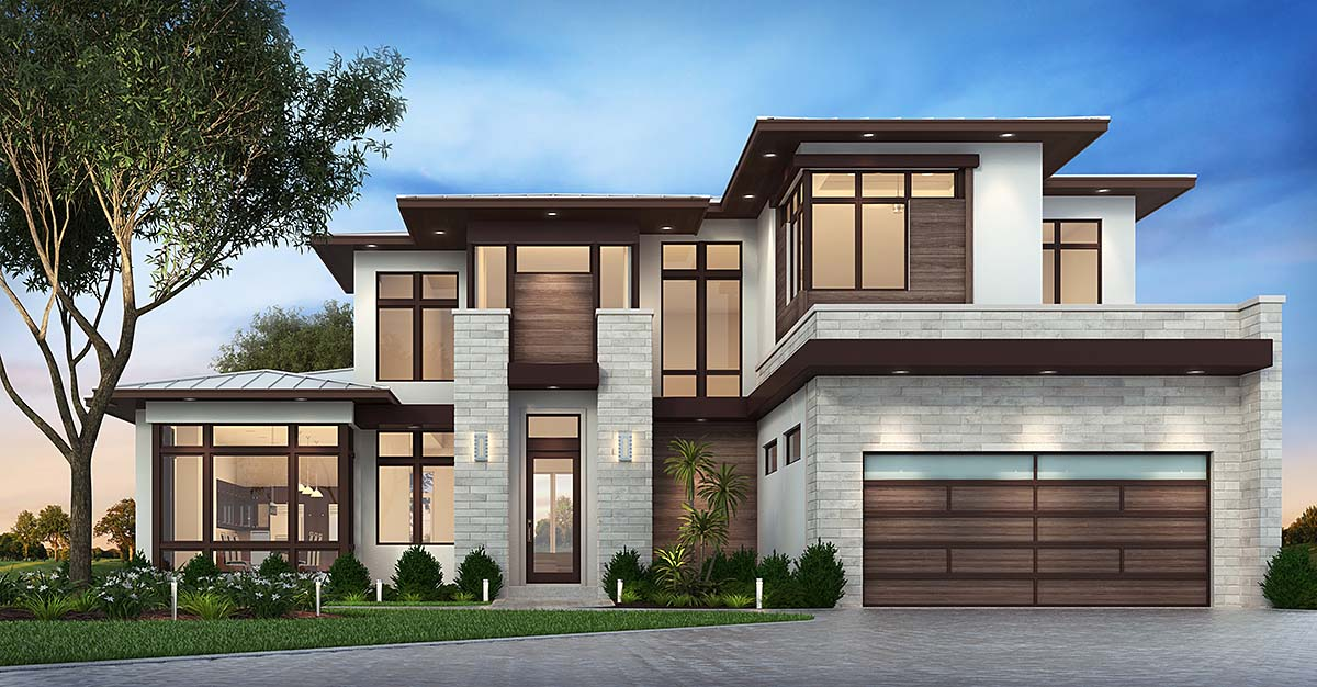 Modern , Florida , Contemporary , Elevation of Plan 75977