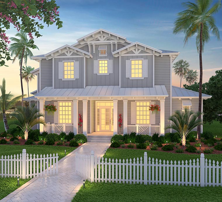 House Plan 75978 | Coastal, Country, Craftsman, Florida Style House Plan with 4322 Sq Ft, 4 Bed, 6 Bath, 3 Car Garage Elevation