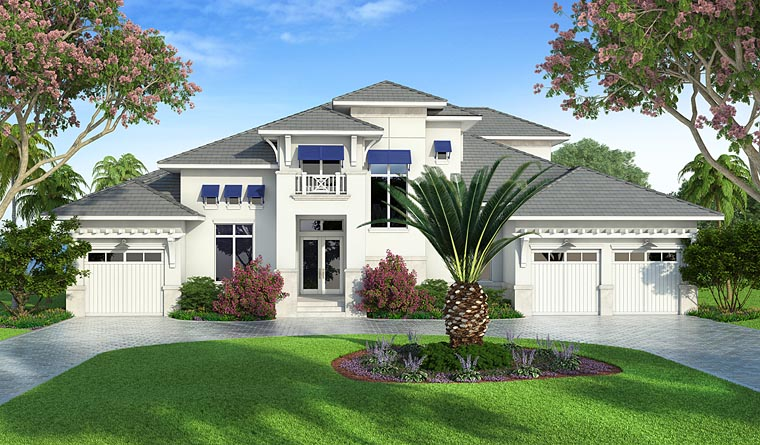 Coastal, Florida, Mediterranean House Plan 75979 with 4 Beds, 5 Baths, 3 Car Garage Elevation