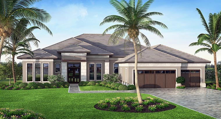 Mediterranean , Florida , Contemporary , Coastal House Plan 75981 with 4 Beds, 5 Baths, 3 Car Garage Elevation