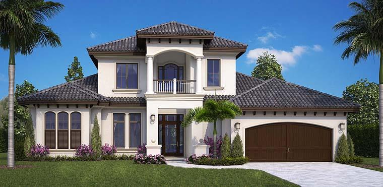 House Plan 75985 | Coastal Florida Mediterranean Style Plan with 3616 Sq Ft, 4 Bedrooms, 5 Bathrooms, 2 Car Garage Elevation