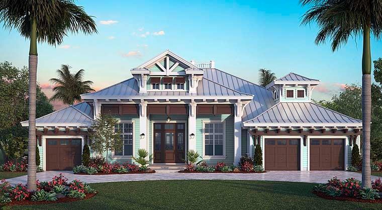 Coastal, Florida House Plan 75987 with 4 Beds, 5 Baths, 3 Car Garage Elevation