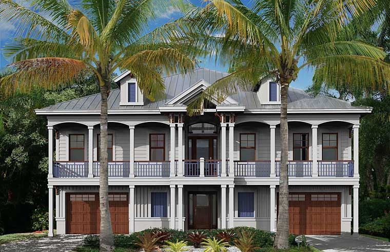Coastal, Colonial, Florida, Southern House Plan 75988 with 2 Beds, 3 Baths, 3 Car Garage Front Elevation